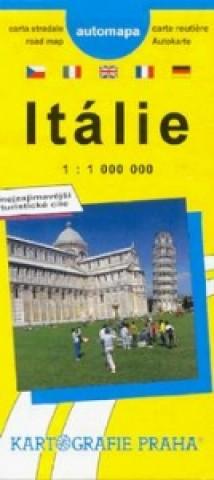 Itálie  automapa   1:1 000 000  Njeznámější turistické cíle