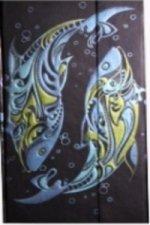 Zápisník s magnetickou klopou 100x180 mm ryby abstrakt C