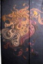 Zápisník s magnetickou klopou 100x180 mm černý s červeným abstrakt. drakem C