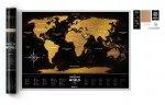 Stírací mapa světa zlato-černá
