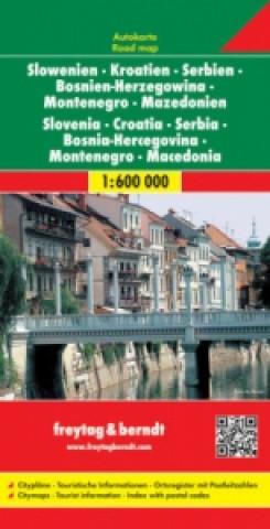Automapa Slovinsko, Chorvatsko, Srbsko 1:600 000