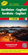 Freytag & Berndt Autokarte Sardinien - Cagliari, Top 10 Tips, Autokarte 1:150.000. Sardinia, Cagliari. Sardaigne, Cagliari; Cerden, Cagliari