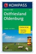 Kompass Karte Ostfriesland, Oldenburg, 3 Bl. m. Kompass Naturführer Küstenvögel