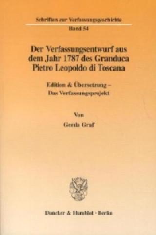 Der Verfassungsentwurf aus dem Jahr 1787 des Granduca Pietro Leopoldo di Toscana.