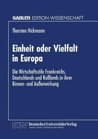 Einheit Oder Vielfalt in Europa