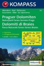 Kompass Karte Pragser Dolomiten, Naturpark Fanes-Sennes-Prags. Dolomiti di Braies, Parco Naturale Fanes-Senes-Braies