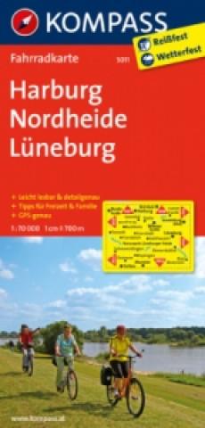 KOMPASS Fahrradkarte Harburg - Nordheide - Lüneburg