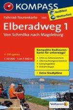 Fahrrad-Tourenkarte Elberadweg 1, Von Schmilka nach Magdeburg. Tl.1