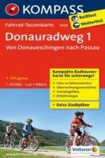 Fahrrad-Tourenkarte Donauradweg 1, Von Donaueschingen nach Passau. Tl.1