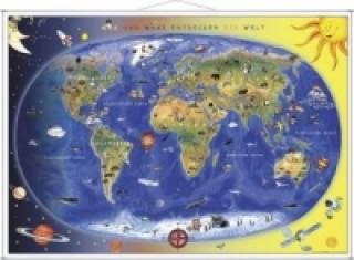 Kinderweltkarte, Lernposter mit Metallbeleistung