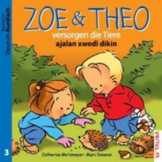 Zoe & Theo versorgen die Tiere, Deutsch-Kurdisch. Zoe & Theo ajalan xwedi dikin