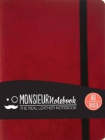 Monsieur Notebook Leather Journal - Red Ruled Small A6