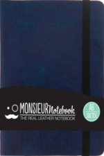 Monsieur Notebook - Real Leather Navy Sketch