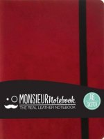 Monsieur Notebook- Real Leather A6 Red Sketch