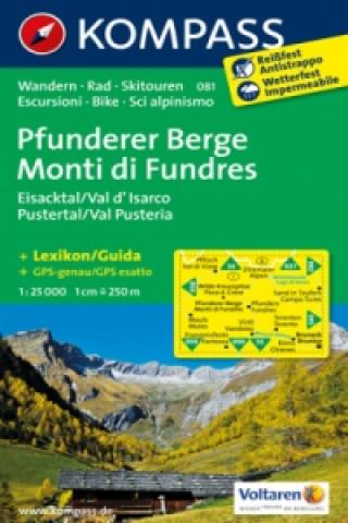 KOMPASS Wanderkarte Pfunderer Berge / Monti di Fundres, Eisacktal / Val dIsarco, Pustertal / Val Pusteria