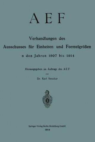 Aef Verhandlungen Des Ausschusses Fur Einheiten Und Formelgroessen in Den Jahren 1907 Bis 1914