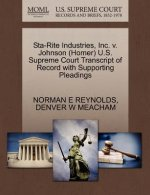Sta-Rite Industries, Inc. V. Johnson (Homer) U.S. Supreme Court Transcript of Record with Supporting Pleadings