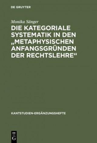kategoriale Systematik in den metaphysischen Anfangsgrunden der Rechtslehre