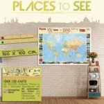 Places to See (groß), Poster Weltkarte