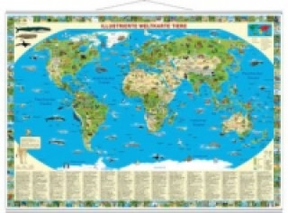Illustrierte Weltkarte Tiere, Planokarte, metall-beleistet
