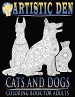 Cats and Dogs Coloring Book For Adults ( Floral Tangle Art Therapy) (Volume 2)