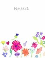 Notebook, Large, 8.5 X 11, Ruled + Grid Notes, Floral Cover Theme