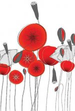 Small Hardbound Notebook - Round Poppies