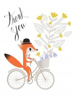 Fox on Bike Thank You Cards [With 12 Envelopes]