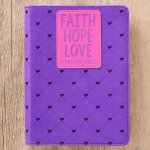 Journal Lux-Leather Faith Hope Love Purple 1 Cor 13