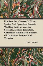 Pen Sketches - Streets Of Cairo, Sphinx And Pyramids, Bedouin Wedding Festival, Venetian Serenade, Modern Jerusalem, Colosseum Illuminated, Bazaars Of