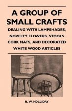 A Group Of Small Crafts - Dealing With Lampshades, Novelty Flowers, Stools Cork Mats, And Decorated White Wood Articles
