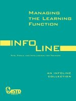 Managing the Learning Function: Tips, Tools, and Intelligence for Trainers
