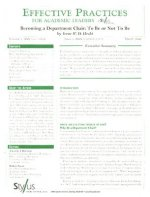 Effective Practices for Academic Leaders Volume 1 Issue 3: Becoming a Department Chair: To Be or Not to Be
