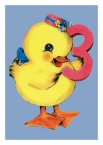 Duckling Third Birthday Card [With 6 Envelopes]
