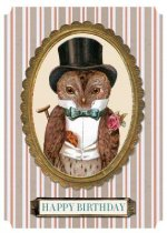 Elegant Owl Birthday Card