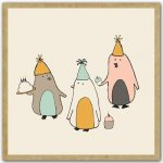 Birthday Penguins Greengift-Notes