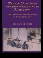 Private Academies of Chinese Learning in Meiji Japan: The Decline