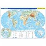 Svět - školní nástěnná fyzická mapa 1:26 mil./136x96 cm