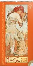 Kalendář nástěnný 2018 - Alfons Mucha, 33 x 64 cm