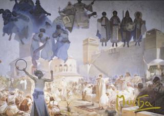 Pohled Alfons Mucha  – Zavedení slovanské liturgie, krátký (Slovanská epopej)