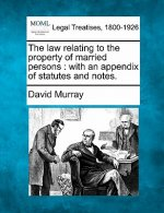The Law Relating to the Property of Married Persons: With an Appendix of Statutes and Notes.