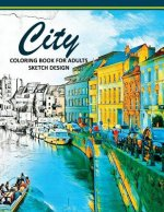 City Coloring Books for Adults: A Sketch Grayscale Coloring Books Beginner (High Quality Picture)