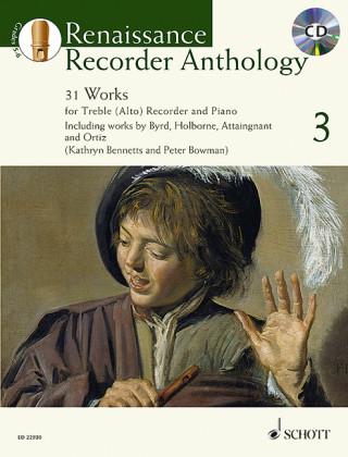 Renaissance Recorder Anthology, für Sopran-/Alt-Blockflöte und Klavier. Vol.3