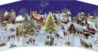 Winterabend im Dorf - Nostalgischer Schiebekalender