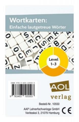 Wortkarten: Einfache lautgetreue Wörter - Level 1-3