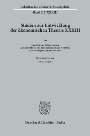 Studien zur Entwicklung der ökonomischen Theorie XXXIII