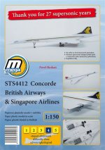 STS4412 Concorde British Airways & Singapore Airlines/papírový model v měřítku 1:150
