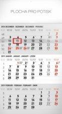 3 mesačný štandard šedý - nástenný kalendár 2019