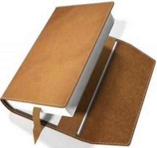Obal na knihu kožený se záložkou Ořechový