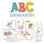 ABC-Lernkarten der Tiere, Bildkarten, Wortkarten, Flash Cards mit Groß- und Kleinbuchstaben Lesen lernen mit Tieren für Kinder im Kindergarten und der